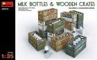 Молочные бутылки и деревянные ящики